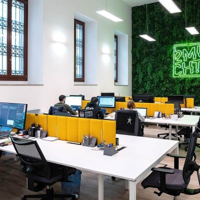 parete verde per ufficio